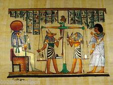 "Anubis Horus Judgment Original Hand Painted Papyrus 12""X16"" (30x40 Cm)"