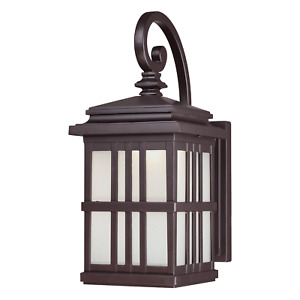 Patio Light Fitting Outdoor Wall Lantern Dimmable LED Lamp Bronze Frosted Glass