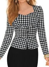 Houndstooth Elegant Slim Fit Bodycon Cocktail Business Office Pencil Dress UK 14