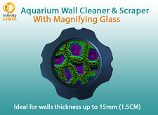 Aquarium Magnetic Glass Cleaner & Scraper With A Magnifying Glass - Up to 15mm