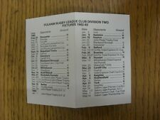 1982/1983 Fixture List: Fulham - Four Pages Small Card Also Covering The Games F