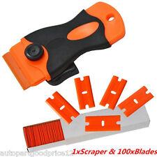 Auto Car Paint/Film/Glue/Adhesive Remove Handle Scraper &100 Double Edged Blades