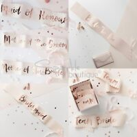 HEN PARTY SASHES -Bride to Be/Bridesmaid/Team Bride -Pink & Rose Gold Decoration