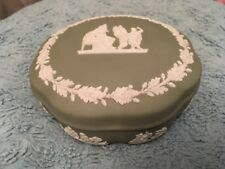 Wedgwood Sage Green Jasperware Lidded Trinket Box