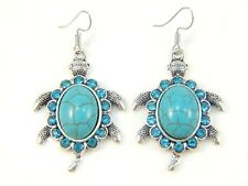 Turquoise Boho Antique Silver Drop Dangle Earrings Hook Ethnic Tribal Turtle