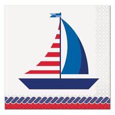 Nautical Summer 16 Ct Paper Beverage Napkins Sailboat