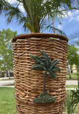 "Waste Basket Trash Can Palm Tree Brown Wicker Bamboo Trim 10"" Tall 8.5"" Diameter"