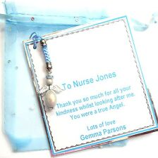 Personalised Thank you Gift for Nurse or Carer Guardian Angel mobile phone charm