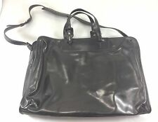 Francesco Biasia Evolution Black Leather Briefcase Tote Bag