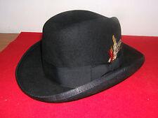 Black HOMBURG M Godfather Hat Wool w/ Satin Inside Tuxedo Fedora Gangster (NEW)