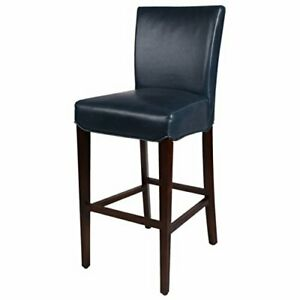 """New Pacific Direct Milton Bonded Leather Bar Stool 29.5""""Brown LegsVintage Blu..."""