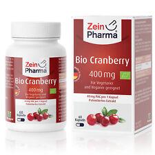 Zeinpharma Bio Canneberge 30 Gélules Comprimés Dose Élevée 400mg Made en Germany