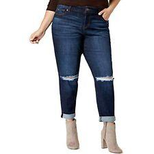 $64 Celebrity Pink Womens Plus Dark Wash Denim Girlfriend Jeans Blue Size 20W