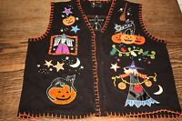 Halloween Sweater Vest Ladies XL Extra Large embroidered cats studio treat