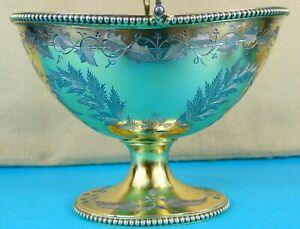 Magnificent Victorian Sterling Silver Gilt Sugar Basket Leaves Thomas Smily 1873