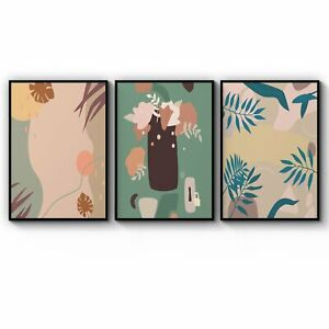 Set of Tropical Abstract Plants Green Wall Art