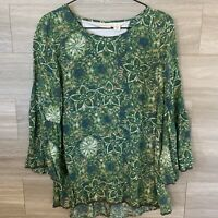 Westbound Women's Long Sleeve Green Tunic Blouse Size L Crochet