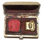 Beautiful Antique Old Chinese BRASS Chop Seal With Embossed, Locking Metal Case