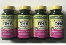 4x Spring Valley Prenatal Algal DHA 450mg 30ct Exp 7/31/2022 = 120 Total!