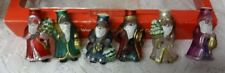 Vintage Old World Christmas Light Covers 6 Glass Set Santa Ornaments Made USA