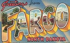 """Large Letter Postcard,""""Greetings From Fargo,North Dakota"""",Linen,c.1940s"""