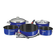 Magma Compact Nestable 10 Piece Teflon Non-Stick Cookware Boat RV Camping Blue