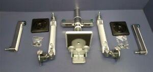 Humanscale M/Flex M2.1 Dual Monitor Arm Desk Clamp Mount Aluminum w/White Trim