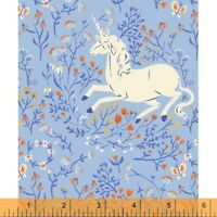 Unicorn Heather Ross 20th Anniversary Windham Cotton Quilt Fabric 39657A 4 Blue