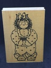 "D.O.T.S./CTMH U 135, ""BECKY"", Mounted Rubber Stamp, Bunny, Pajamas, NEW"