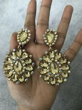 "3.25"" Gold Long Light Brown Champagne Crystal Rhinestone Earrings Drop Clip On"