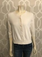 J Jill Cardigan Sweater M Petite MP Off White Cotton 3/4 Sleeve Button Down Euc