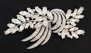 Vintage Crown Trifari Silver-Tone Navette Rhinestone Crystal Brooch Pin