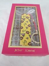 Betsey Johnson yellow cell phone portable charger~usb cord~key chain fob, NIB