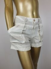 ELKA LINEN SHORTS  - CUFFED - PLAID 100% LINEN - SIZE 8