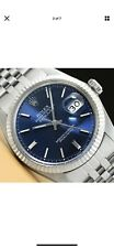 MENS ROLEX DATEJUST BLUE DIAL SAPPHIRE 18K WHITE GOLD STAINLESS STEEL WATCH