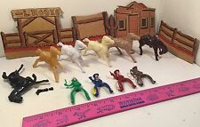 VINTAGE 15 PIECE COWB0YS INDIAN HORSES BUCKING BRONCO SCENERY WESTERN THEME TOY