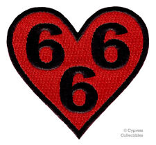 666 HEART BIKER PATCH RED iron-on emblem EMBROIDERED EVIL SATAN DEVIL NUMBER new