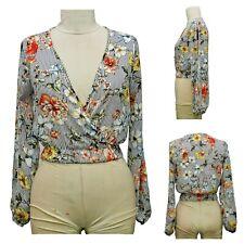 Petite Womens Surplice Floral Printed Chiffon Top - Size S-XL