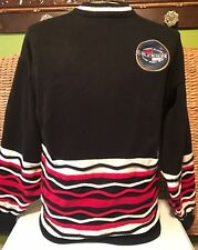 Vintage TOMMY HILFIGER Sweater Striped Strings Black Red White Mens XL RARE