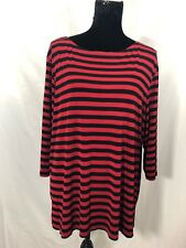 Norm Thompson Womens Size XL Red Black Stripped 3/4 Sleeve Stretch Blouse Top