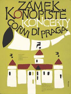 Original Vintage Poster Czech Prague Castle Concerts Music 1974 Trumpet Srpen