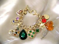 DESIGNER POURED RESIN FAUX GRIPOIX COLORFUL MULTI CHARM MATTE GOLD BRACELET