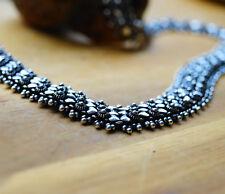 Silberkette 46 cm Handarbeit Silber Kette 1,5 cm Breit Herz Floral Verspielt