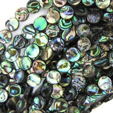 """10mm abalone shell coin beads 16"""" strand"""