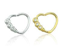 Clear Gem Heart Bendable Ear Cartilage Tragus Daith Helix Steel Gold Pl 16g #CR6