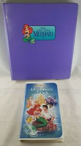 Disney The Little Mermaid / Banned Cover VHS & 1991 Pro Set Card Set with Binder