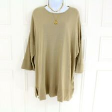 Elemente Clemente Sand Beige Boxy Long Slouchy Knit Top Sweater Short Sleeve 2