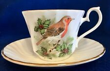 "House of Global Art ""Finch & Holly Berry� Teacup & Saucer •Bone China • England"
