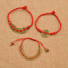 Chinese Feng Shui Coin Charm Bracelet Red String Wealth Lucky Wrist Rope Luck