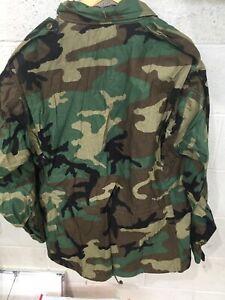 NEW W/ QM Tag US ARMY BDU WOODLAND CAMO M-65 COLD WEATHER FIELD JACKET LG-REGULR